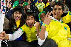 Brazil fans enjoy the atmosphere prior to the 2010 FIFA World Cup South Africa Round of Sixteen match between Brazil and Chile at Ellis Park Stadium on June 28, 2010 in Johannesburg, South Africa. Brazil defeated Mexico 3-0 and qualified for quarterfinals.  (Photo by Vid Ponikvar / Sportida)