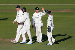 Freddie Coleman of Warwickshire (2R) celebrates catching out Peter Trego of Somerset for 24 (b. Keith Barker) - Mandatory byline: Rogan Thomson/JMP - 07966 386802 - 22/09/2015 - CRICKET - The County Ground - Taunton, England - Somerset v Warwickshire - Day 1 - LV= County Championship Division One.