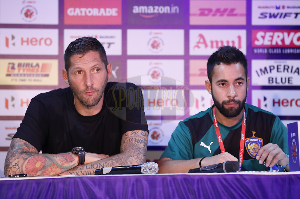 Chennaiyin FC coach MArco Materazzi (L) during press conference after the match 6 of the Indian Super League (ISL) season 3 between Chennaiyin FC and Delhi Dynamos FC held at the Jawaharlal Nehru Stadium in Chennai, India on the 6th October 2016.<br /> <br /> Photo by Arjun Singh / ISL/ SPORTZPICS