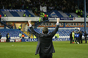 Huddersfield Town Manager David Wagner acknowledges the Huddersfield Town supporters during the EFL Sky Bet Championship play off second leg match between Sheffield Wednesday and Huddersfield Town at Hillsborough, Sheffield, England on 17 May 2017. Photo by John Potts.