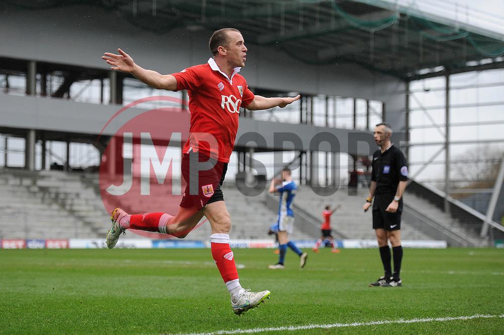 Bristol City's Aaron Wilbraham celebrates his goal. - Photo mandatory by-line: Dougie Allward/JMP - Mobile: 07966 386802 - 03/04/2015 - SPORT - Football - Oldham - Boundary Park - Bristol City v Oldham Athletic - Sky Bet League One