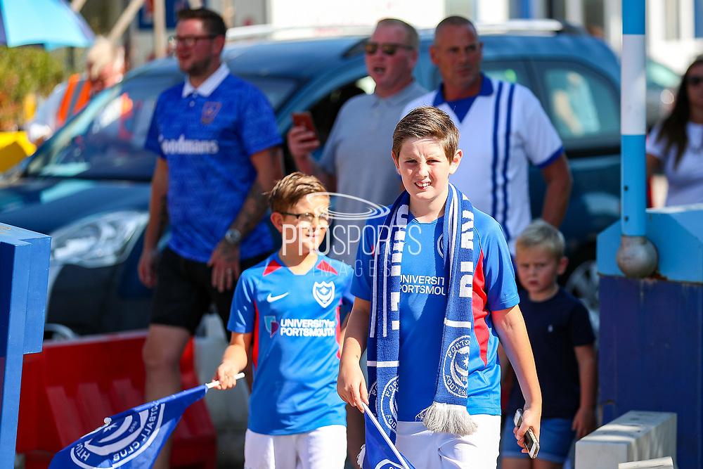 Portsmouth fans arrive ahead of the EFL Sky Bet League 1 match between Wycombe Wanderers and Portsmouth at Adams Park, High Wycombe, England on 21 September 2019.