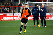 Brentford Midfielder Ryan Woods (15) warms up before kick off during the EFL Sky Bet Championship match between Brentford and Bolton Wanderers at Griffin Park, London, England on 13 January 2018. Photo by Andy Walter.