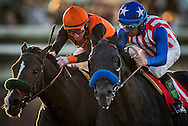 CYPRESS, CA - DEC 17: Stewart Elliott battles with a bloody nose to the wire against Victor Espinozaduring the 7th race  at Los Alamitos Race Course on December 17,  2016 in Cypress, California. (Photo by Alex Evers/Eclipse Sportswire/Getty Images)