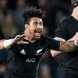 Haka by All Blacks Ardie Savea during game 7 of the British and Irish Lions 2017 Tour of New Zealand, the first Test match between  The All Blacks and British and Irish Lions, Eden Park, Auckland, Saturday 24th June 2017<br /> (Photo by Kevin Booth Steve Haag Sports)<br /> <br /> Images for social media must have consent from Steve Haag