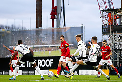 Andi Weimann of Bristol City is challenged by Alfie Mawson and Joe Bryan of Fulham - Rogan/JMP - 07/12/2019 - Craven Cottage - London, England - Fulham v Bristol City - Sky Bet Championship.