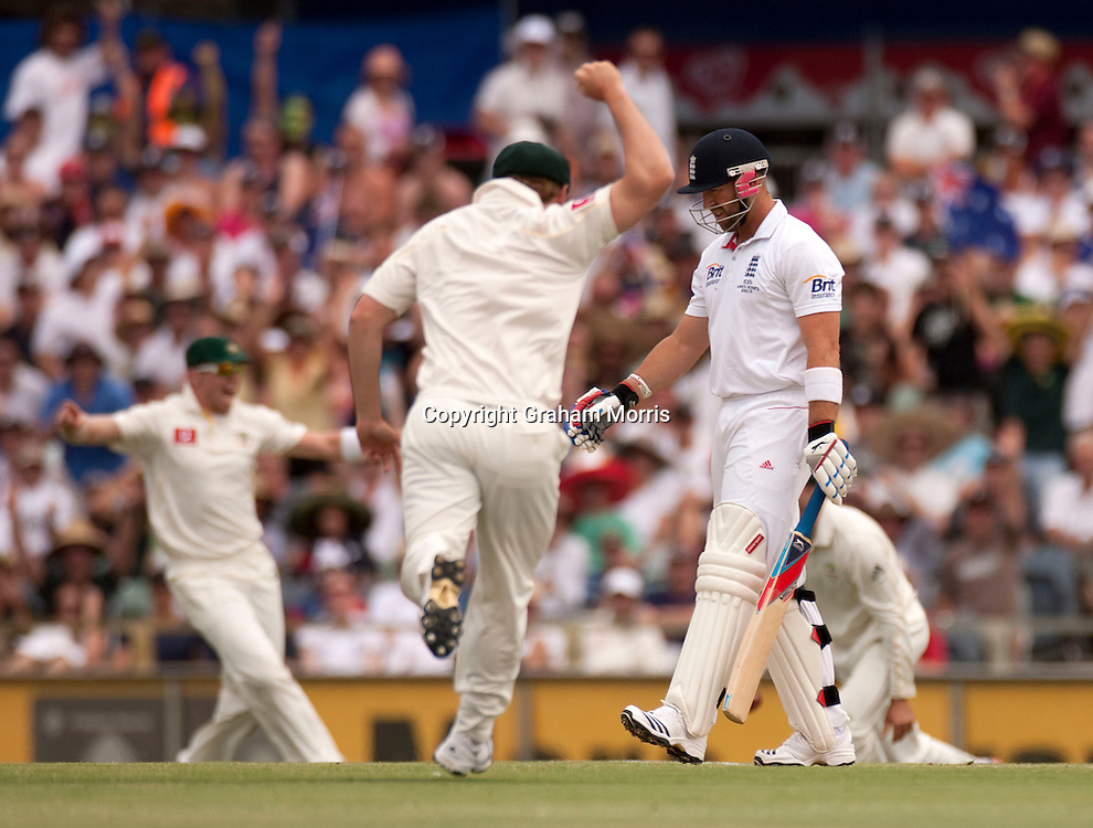 Matt Prior out as England are about to lose the third Ashes test match to Australia at the WACA (West Australian Cricket Association) ground in Perth, Australia. Photo: Graham Morris (Tel: +44(0)20 8969 4192 Email: sales@cricketpix.com) 19/12/10