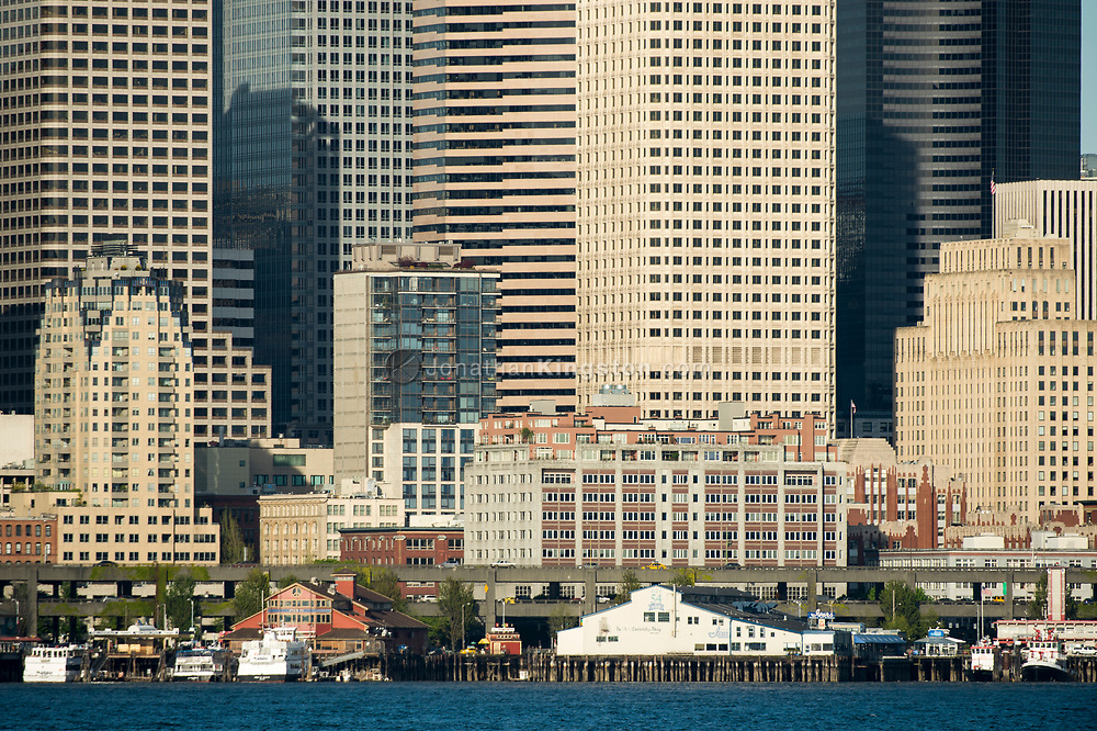 Close up view of the skyline of Seattle from the harbor.