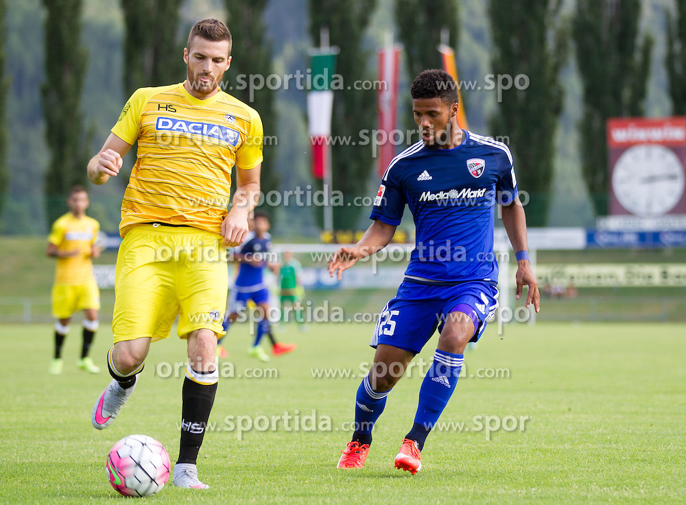 18.07.2015, Dolomitenstadion, Lienz, AUT, Testspiel, Arminia Bielefeld vs Udinese Calcio, im Bild Thomas Heurtaux (Udinese Calcio), Elias Kachunga (FC Ingolstadt) // during a International Friendly Football Match between Arminia Bielefeld and Udinese Calcio at the Dolomitenstadion in Lienz, Austria on 2015/07/18. EXPA Pictures © 2015, PhotoCredit: EXPA/ Johann Groder