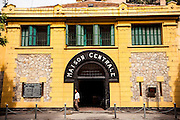 """Facade of the Hoa Lo prison museum, formely known as the """"Hanoi Hilton"""" during the Vietnam-American War, Hanoi, Vietnam, Southeast Asia."""