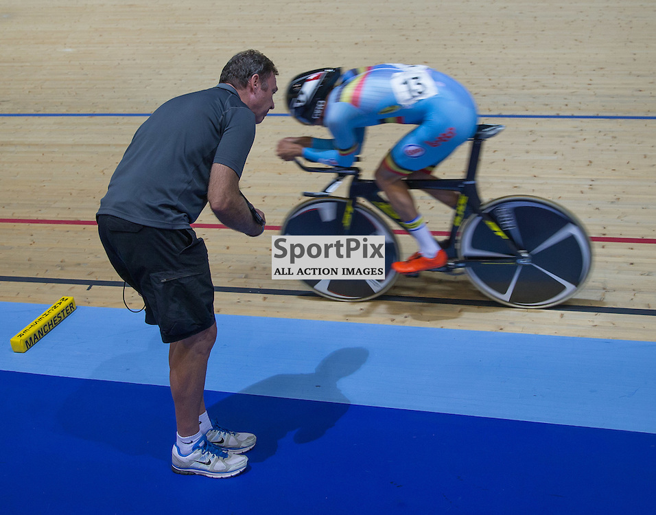 Moreno De Pauw receives instructions for his coach in the Men's Omnium Pursuit at the Revoultion Series 2015/6 Round 1 Derby, Day 2, on 15 August 2015 ( (Photo by Mike Poole - Photopoole)