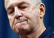 Connecticut head basketball coach Jim Calhoun reacts during a news conference announcing his retirement at the University of Connecticut in Storrs, Conn., Thursday, Sept. 13, 2012. Calhoun built Connecticut into a basketball power and coached the Huskies to three national titles. (AP Photo/Jessica Hill)