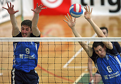 Dejan Vincic (9) and Stefano Mengozzi (6) of Salonit Anhovo in block at 4th and final match of Slovenian Voleyball  Championship  between OK Salonit Anhovo (Kanal) and ACH Volley (from Bled), on April 23, 2008, in Kanal, Slovenia. The match was won by ACH Volley (3:1) and it became Slovenian Championship Winner. (Photo by Vid Ponikvar / Sportal Images)/ Sportida)