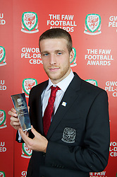 CARDIFF, WALES - Monday, October 8, 2012: Wales' Adam Matthews with the Young Player of the Year Award during the FAW Player of the Year Awards Dinner at the National Museum Cardiff. (Pic by David Rawcliffe/Propaganda)