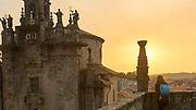 SANTIAGO DE COMPOSTELA, SPAIN - 15th October 2017 - Tourist admires Church architecture in Santiago de Compostela, Galicia, Spain