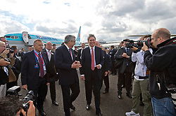 © London News Pictures. 11/07/2012. Farnborough, UK. Defence Secretary Philip Hammond  officially receiving the first Wildcat helicopters from AgustaWestland on behalf of the armed forces on day three of the Farnborough International Airshow, in Farnborough, Hampshire, UK on July 9, 2012. FIA is a seven-day international trade fair for the aerospace industry which is held every two years at Farnborough Airport . Photo credit: Ben Cawthra/LNP.