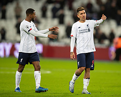 LONDON, ENGLAND - Wednesday, January 29, 2020: Liverpool's Roberto Firmino (R) and Georginio Wijnaldum after after the FA Premier League match between West Ham United FC and Liverpool FC at the London Stadium. Liverpool won 2-0.  (Pic by David Rawcliffe/Propaganda)
