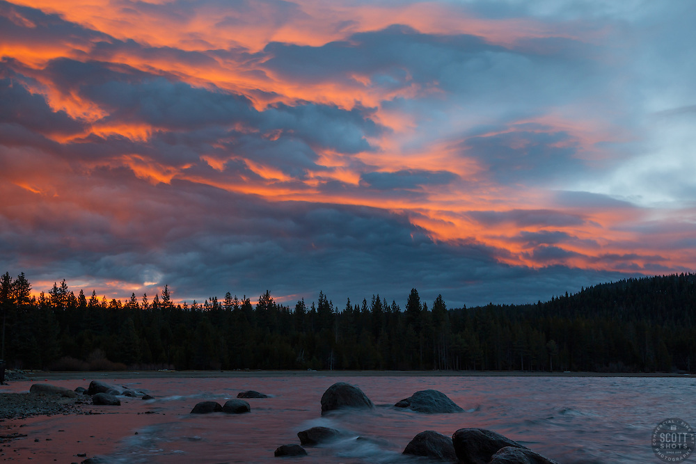 """Donner Lake Sunrise 11"" - Photograph of an orange and blue sunrise shot from the north shore of Donner Lake in Truckee, California."