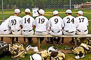 High school baseball team on the bench at Watchung Hills High School, Warren, NJ 5/15/08.