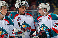 KELOWNA, CANADA - JANUARY 26: Roman Basran #30 speaks to Kyle Topping #24 of the Kelowna Rockets to  on January 26, 2019 at Prospera Place in Kelowna, British Columbia, Canada.  (Photo by Marissa Baecker/Shoot the Breeze)