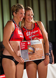 Mihela Istenic and Martina Jakob during medal ceremony after the final matches of Slovenian National Championship in beach volleyball Kranj 2012, on June 30, 2012 in Kranj, Slovenia. (Photo by Vid Ponikvar / Sportida.com)