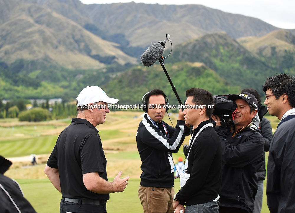 New Zealand Prime Minister John Key is interviewed by a Japanese TV crew during 2016 BMW ISPS Handa New Zealand Open. Sunday 13 March 2016. Arrowtown, New Zealand. Copyright photo: Andrew Cornaga / www.photosport.nz