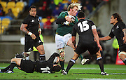 Schalk Burger brushes off Dan Carter as Rodney So'oialo and Mils Muliaina close in.<br /> Philips Tri Nations, All Blacks vs South Africa at Westpac Stadium, Wellington, New Zealand, Saturday 5 July 2008. Photo: Dave Lintott/PHOTOSPORT