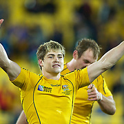James O' Connor, Australia, celebrates after Australia's victory during the South Africa V Australia Quarter Final match at the IRB Rugby World Cup tournament. Wellington Regional Stadium, Wellington, New Zealand, 9th October 2011. Photo Tim Clayton...