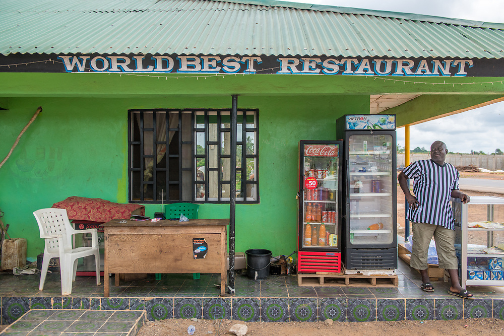 """Colorful restaurant named """"Worlds Best Restaurant"""" in Ganta,Liberia"""