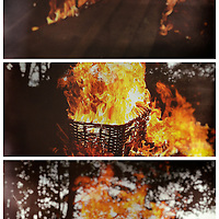 Burning whicker basket with tall flames