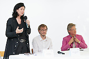 54th Biennale of Venice..ILLUMInazioni - ILLUMInations.Giardini, Austrian Pavillion..Markus Schinwald, 2011..Opening press conference. From l.: Curator Eva Schlegel, Markus Schinwald, Claudia Schmied, Austrian Minister of Education, Culture and Art.