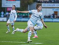 FODBOLD: Nicolas Mortensen (FC Helsingør) jubler efter scoringen til 2-0 under kampen i ALKA Superligaen mellem FC Helsingør og Silkeborg IF den 28. oktober 2017 på Helsingør Stadion. Foto: Claus Birch