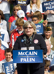 "Lynnette Long, a self-described mother, democrat, feminist and Hillary Clinto supporter speaks on behalf of the McCain Palin campaign at a rally in Virginia.  2008 Republican Presidential nominee Senator John McCain (R-AZ) and Governor Sarah Palin (R-AK) held a ""Road to Victory Rally"" in front of an estimated 23,000 supporters in Van Dyke Park in Fairfax, VA on September 10, 2008."