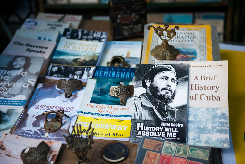 Secondhand books for sale in Plaza de Armas in Habana Vieja in Havana, Cuba.