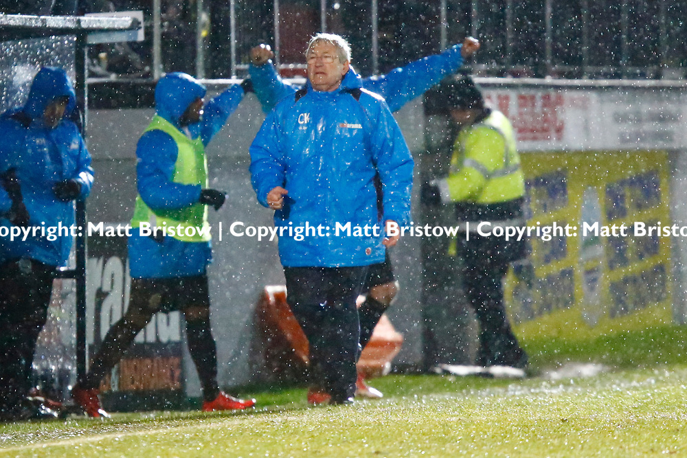 Dover's manager Chris Kinnearpunches the air as the final whistle is blown during the Vanorama National League match between Dover Athletic and Guiseley at Crabble Stadium, London, England on 27 January 2018. Photo by Matt Bristow.