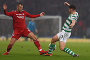 Niall McGinn catches Kieran Tierney during the Betfred Cup Final between Celtic and Aberdeen at Hampden Park, Glasgow, United Kingdom on 2 December 2018.