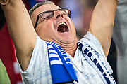 Slovakia fans celebrate goal  during the FIFA World Cup Qualifier match between England and Slovakia at Wembley Stadium, London, England on 4 September 2017. Photo by Sebastian Frej.