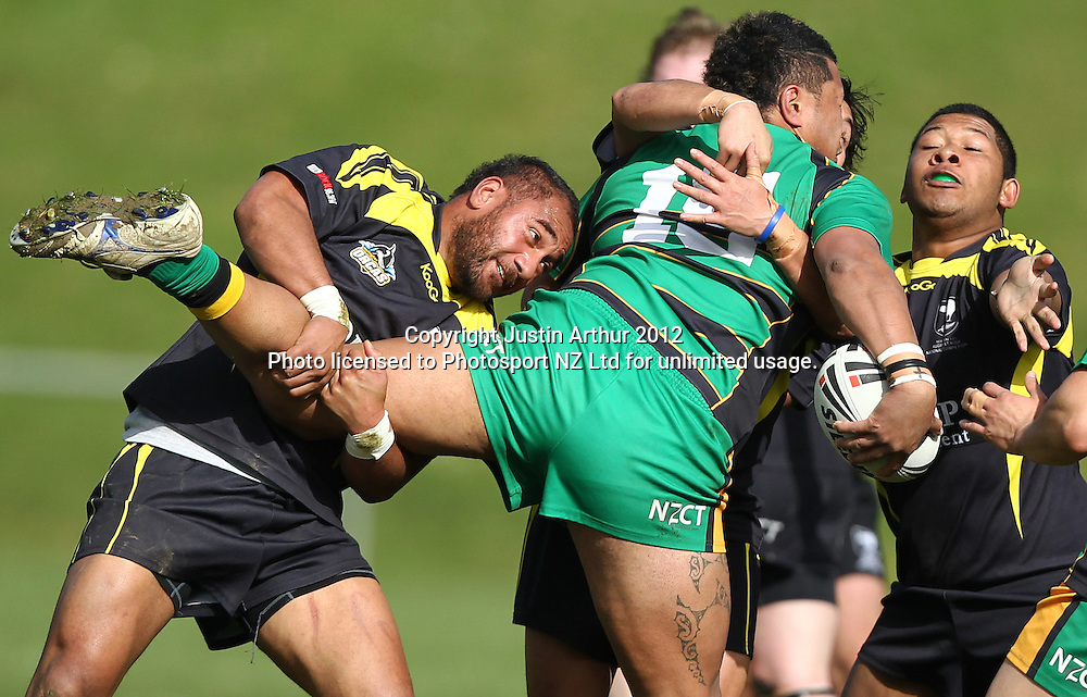 Vipers kele Kose runs into the Orcas defense during the Pirtek National Rugby League Premiership 2012 - Wellington Orcas v Central Vipers at Porirua Park, Porirua, New Zealand on 25 August 2012. Photo: Justin Arthur / photosport.co.nz