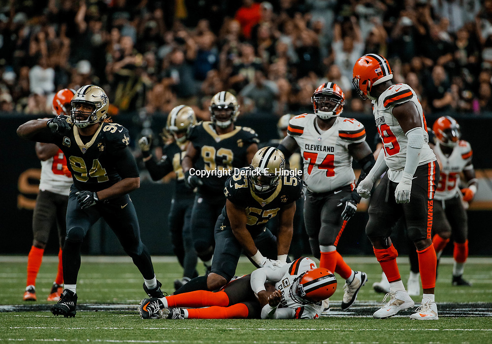 Sep 16, 2018; New Orleans, LA, USA; New Orleans Saints defensive end Cameron Jordan (94) and defensive end Alex Okafor (57) celebrate after a sack against Cleveland Browns quarterback Tyrod Taylor (5) during the fourth quarter of a game at the Mercedes-Benz Superdome. The Saints defeated the Browns 21-18. Mandatory Credit: Derick E. Hingle-USA TODAY Sports
