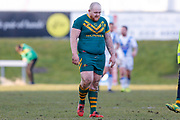 Try scorer for Hunslet Club Parkside  , Hunslet Club Parkside prop Jamie Fields (10)  during the Ladbrokes Challenge Cup round 3 match between Hunslet Club Parkside and Workington Town at South Leeds Stadium, Leeds, United Kingdom on 24 February 2018. Picture by Simon Davies.