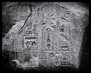 Ancient message in stone, Elephantine Island, River Nile, Egypt.