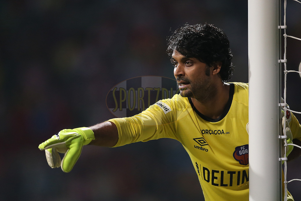 FC Goa goalkeeper Subhasish Roy Chowdhury during match 15 of the Indian Super League (ISL) season 3 between Atletico de Kolkata and FC Goa held at the Rabindra Sarobar Stadium in Kolkata, India on the 16th October 2016.<br /> <br /> Photo by Shaun Roy / ISL/ SPORTZPICS