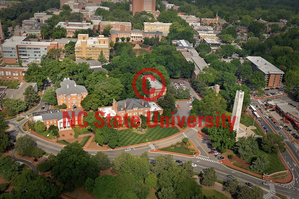 Aerial view of the Belltower, Hollday Hall, traffic circle, etc.