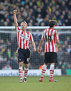 Saturday February 20th 2010: Norwich City play Southampton at the Canaries home ground Carrow road. Lee Baranard salutes fans after scoring  his second goal against Norwich. (Pic by Rob Colman Focus Images)