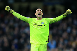 19th March 2017 - Premier League - Manchester City v Liverpool - Man City goalkeeper Wilfredo Caballero celebrates their equaliser - Photo: Simon Stacpoole / Offside.
