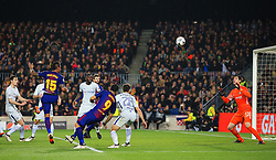 Paulinho of Barcelona fires a header at goal - Mandatory by-line: Matt McNulty/JMP - 14/03/2018 - FOOTBALL - Camp Nou - Barcelona, Catalonia - Barcelona v Chelsea - UEFA Champions League - Round of 16 Second Leg