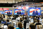 US Republican Presidential Candidate Ted Cruz is seen on television in the CNN filing room during the Republican Presidential Debate at the University of Houston in Houston, Texas on February 25, 2016.