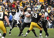 15 NOVEMBER 2008: Purdue quarterback Curtis Painter (12) throws a pass in the second half of an NCAA college football game against Purdue, at Kinnick Stadium in Iowa City, Iowa on Saturday Nov. 15, 2008. Iowa beat Purdue 22-17.