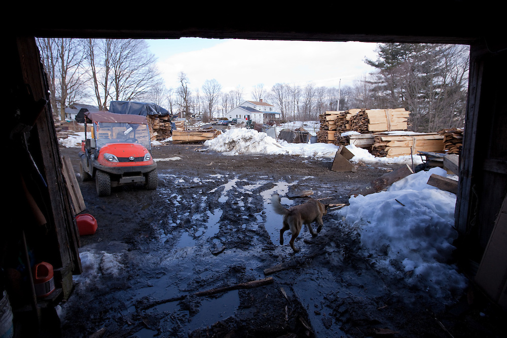 The Hager Brothers Maple Farm in Colrain, MA is pictured on March 8, 2010. Every year from late February through early April, farmers all over Massachusetts take to the woods with buckets, tubing and drills to gather the sap from sugar maple trees, boiling it down to pure maple syrup.