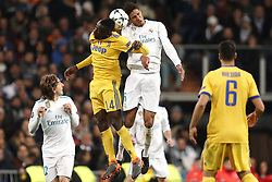 (l-r) Luka Modric of Real Madrid, Blaise Matuidi of Juventus FC, Raphael Varane of Real Madrid during the UEFA Champions League quarter final match between Real Madrid and Juventus FC at the Santiago Bernabeu stadium on April 11, 2018 in Madrid, Spain